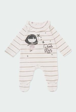 Babygrow veludo às riscas para o bebé menina_1