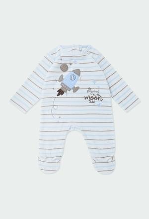 Babygrow veludo às riscas para o bebé menino_1