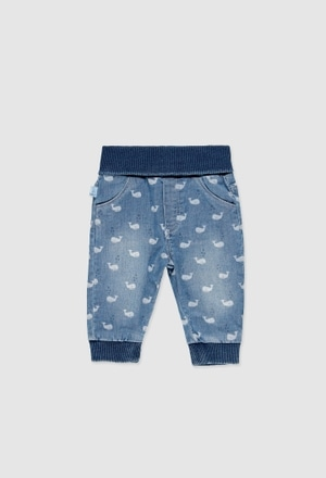 Denim stretch trousers for baby_1