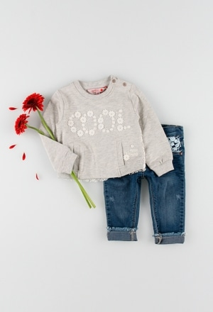 Fleece sweatshirt flame for baby girl_1