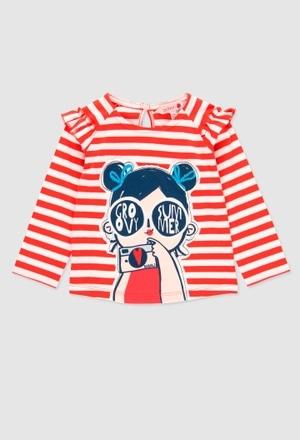 Camiseta de algodão para o bebé menina_1