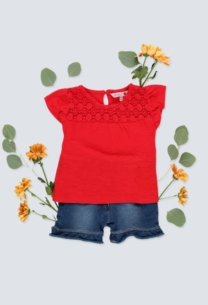 Knit t-Shirt flame for baby girl_1