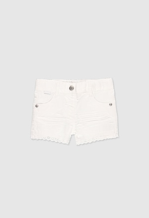 Stretch gabardine shorts for baby girl_1