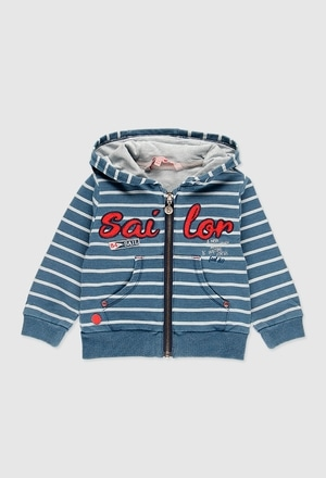 Fleece jacket denim for baby boy_1