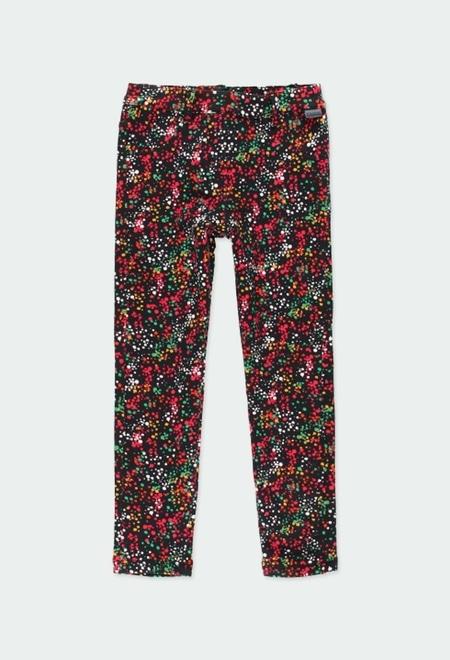 Stretch fleece trousers polka dot for girl_1