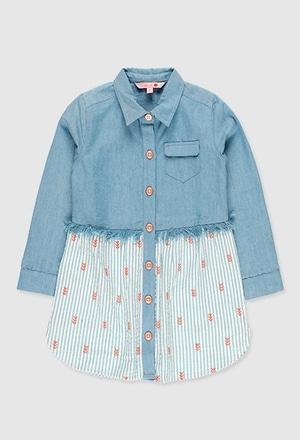 Vestido denim combinado para menina_1