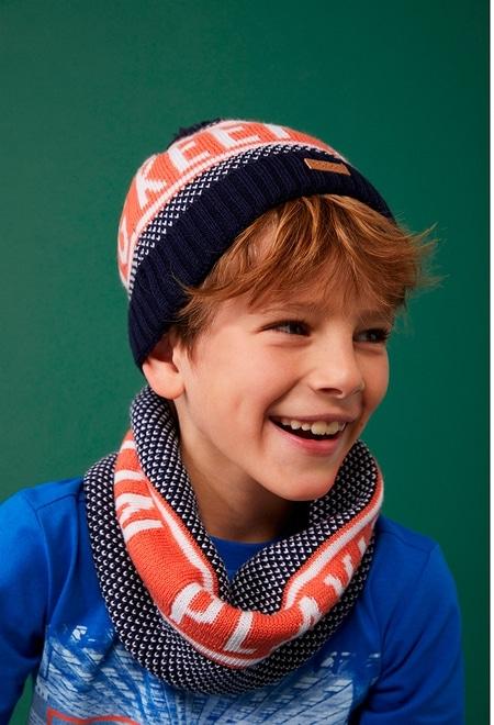 """Knitwear hat """"letters"""" for boy_1"""