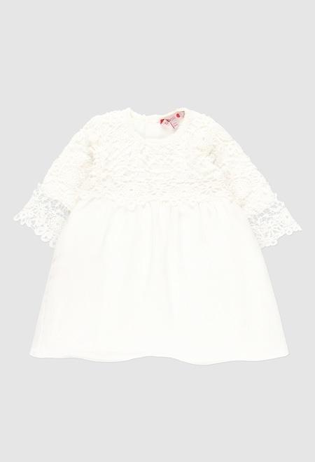 Vestido guipure combinado para o bebé menina_1