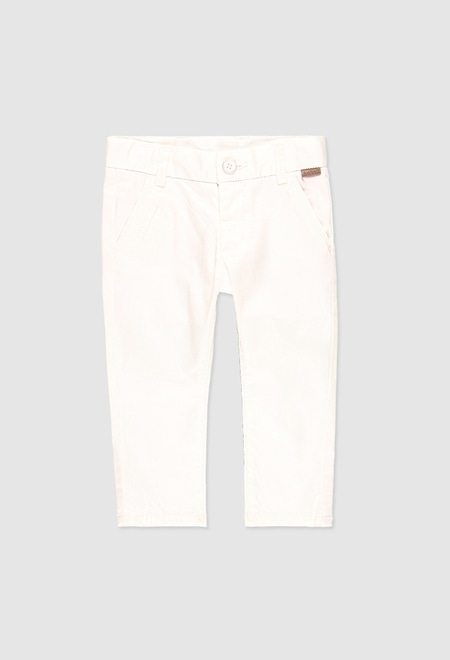 Stretch satin trousers for baby boy_1