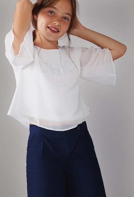Blouse with gauze for girl_1
