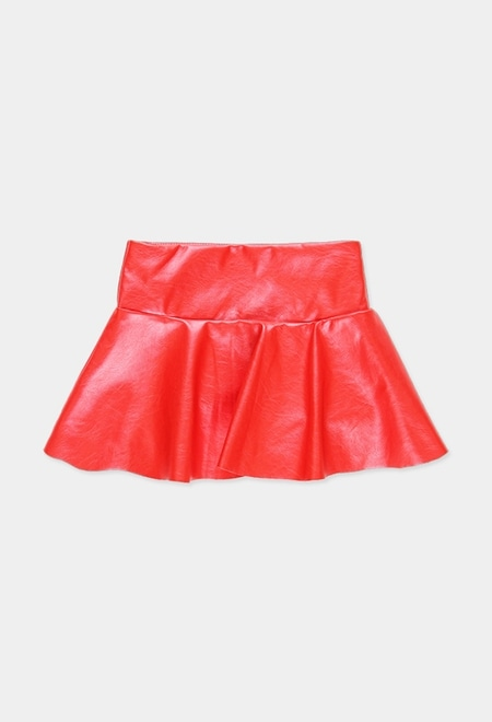 Synthetic leather skirt for girl_1